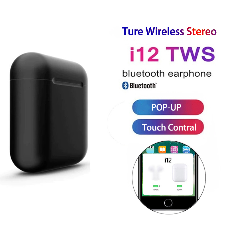 2019 New I12 <font><b>Tws</b></font> Bluetooth 5.0 Earphones Ture Wireless <font><b>Earbuds</b></font> Touch Control Headsets Headphones Audifonos Para Celular Elari image
