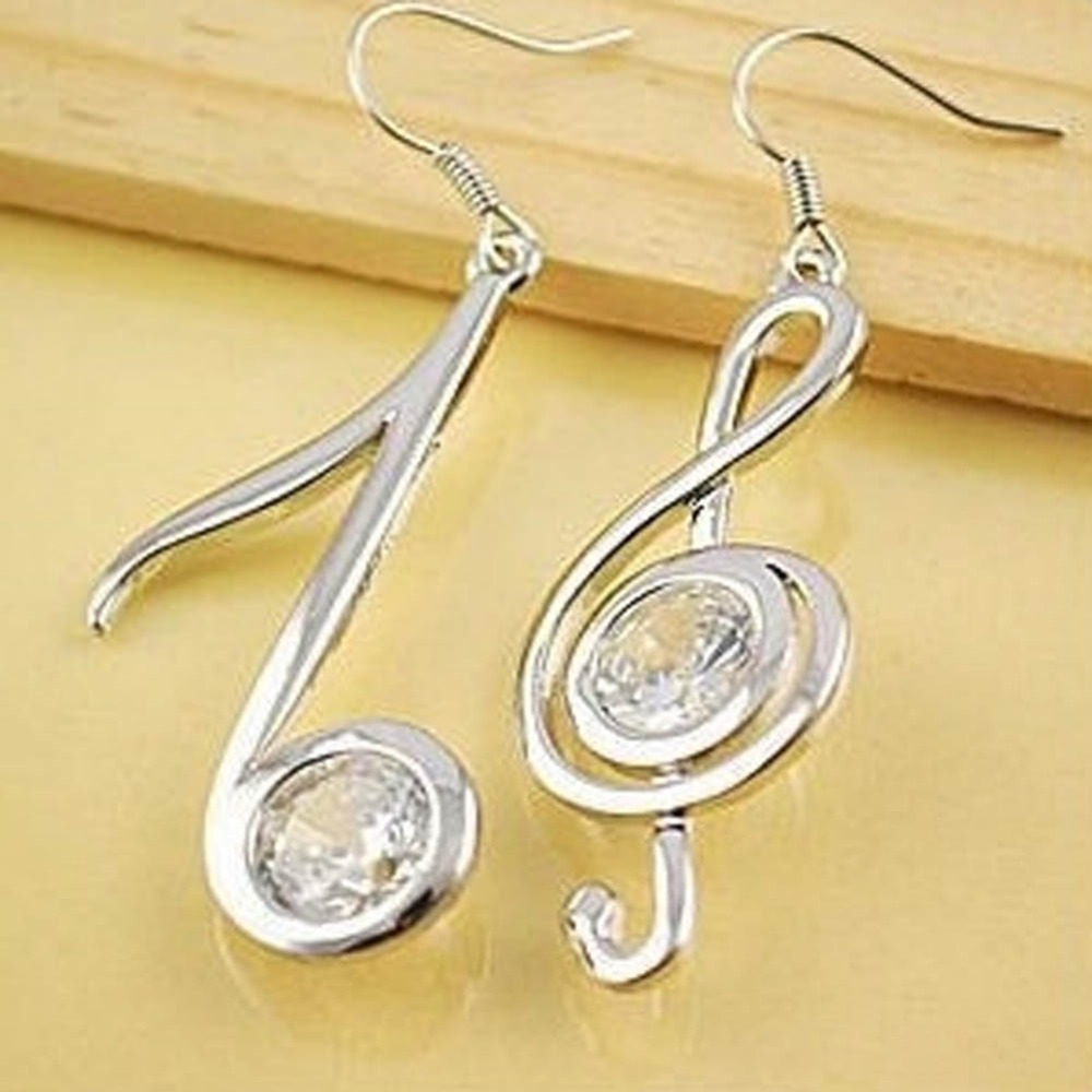Whole Por Exquisite Lovely Musical Note Melody Crystal Rhinestone Pendant Women Lady Party Dress Alloy Drop Earring Hook In Earrings From