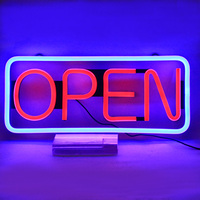 High brightness LED flex neon open sign with red letters and blue acr line