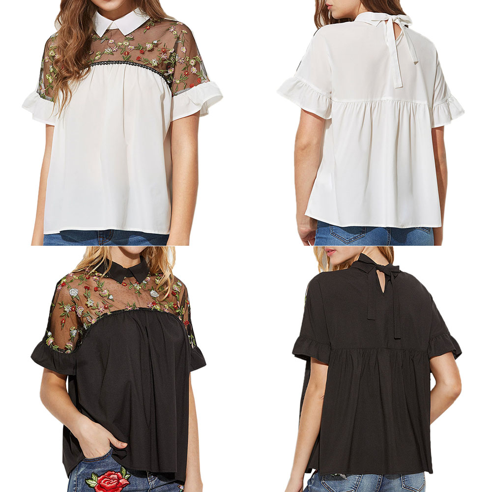 2017 Woman Embroidered Flower Stitching Tops Sheer Neck Tie Back Short Sleeve Top