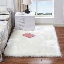 Прямоугольные коврики из мягкого искусственного меха овчины для спальни, напольные ворсистые шелковистые плюшевые ковры, белый ковер из искусственного меха, прикроватные коврики