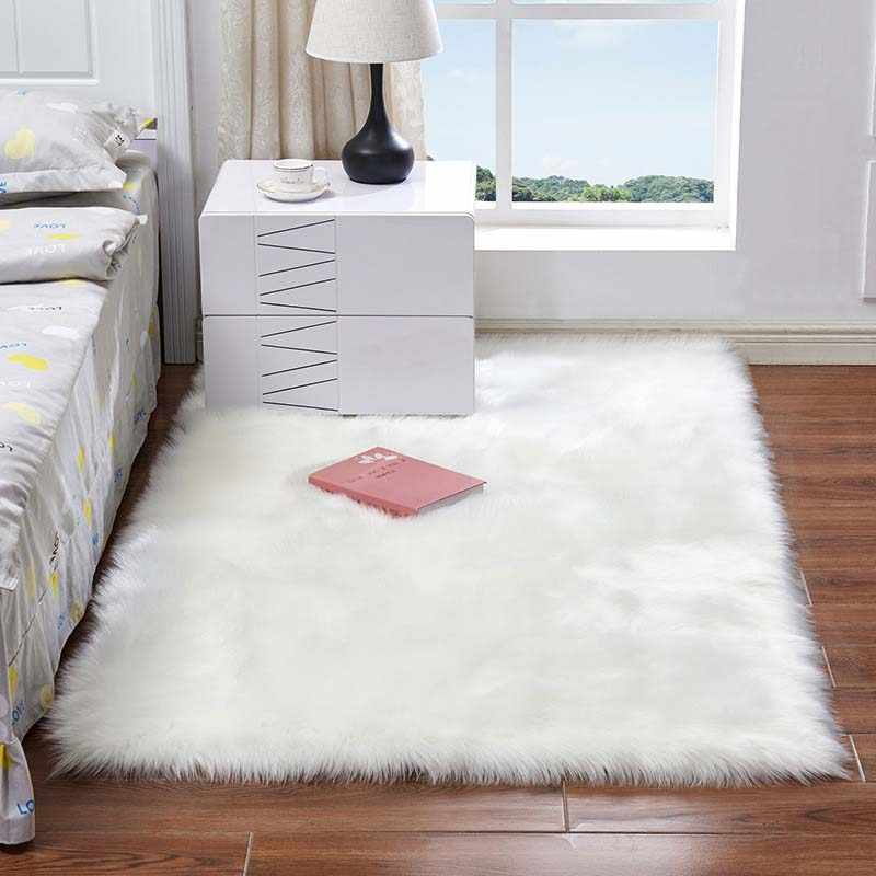 Rectangle Soft Faux Sheepskin Fur Area Rugs for Bedroom Floor Shaggy Silky Plush Carpet White Faux Fur Rug Bedside Rugs