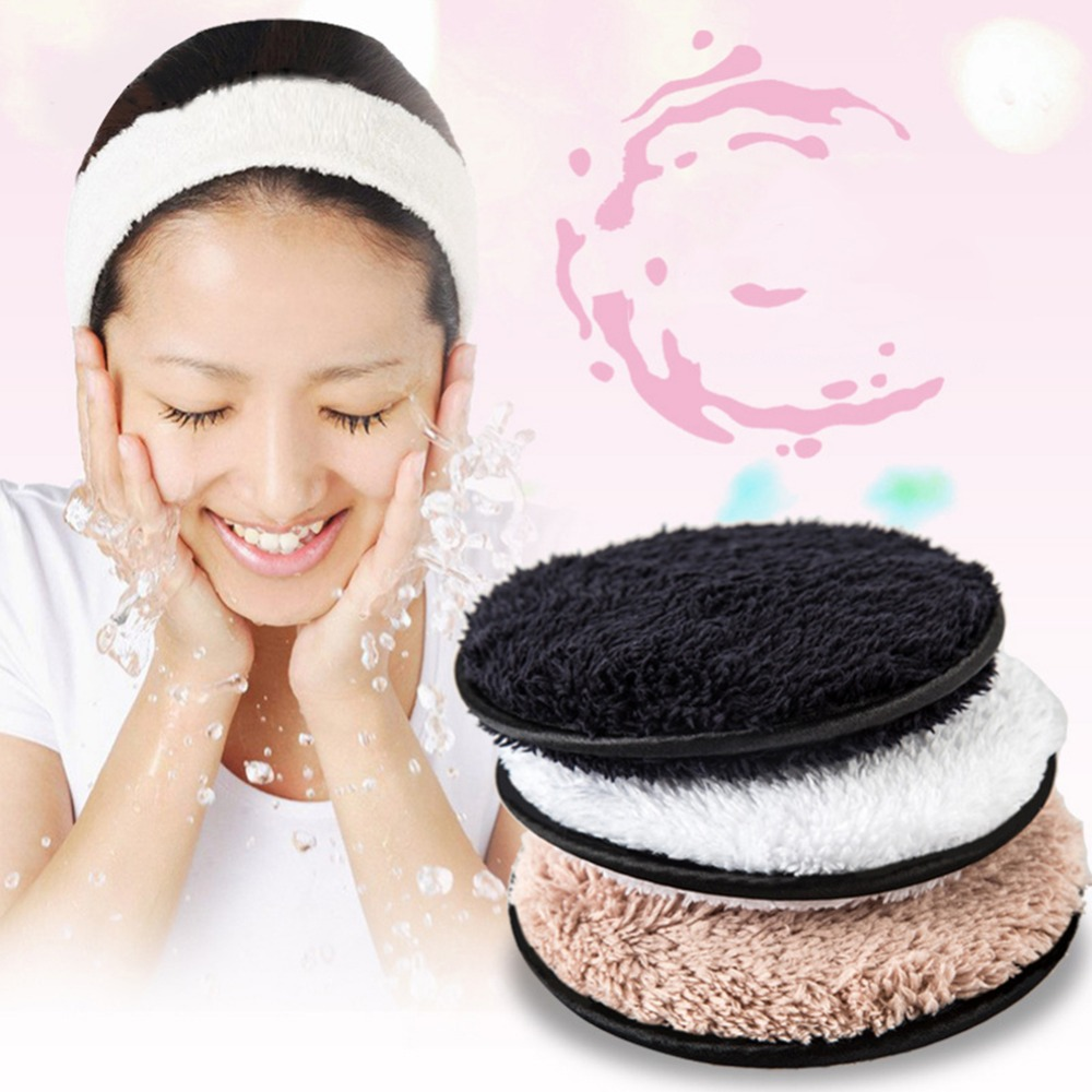ELECOOL 1pc Superior Soft Fiber Dual-side Microfiber Suede Makeup Remover Puff Coffee/White/Black Color Lazy Makeup Remover Puff