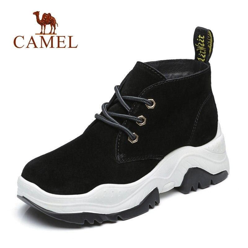 CHAMEAU Haute Talon Épais Hiver Chaussures Femmes Sneakers Femmes Mode Casual Haute Plate-Forme Chaussures Pour Dames De Tennis En Daim Dentelle Rétro