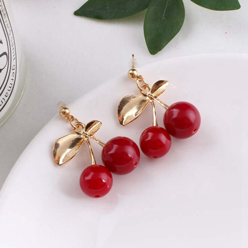 1 Pair!!! New Fashion Cute Lovely Red Cherry Earrings Leaf Bead Stud Earrings For Woman Jewelry