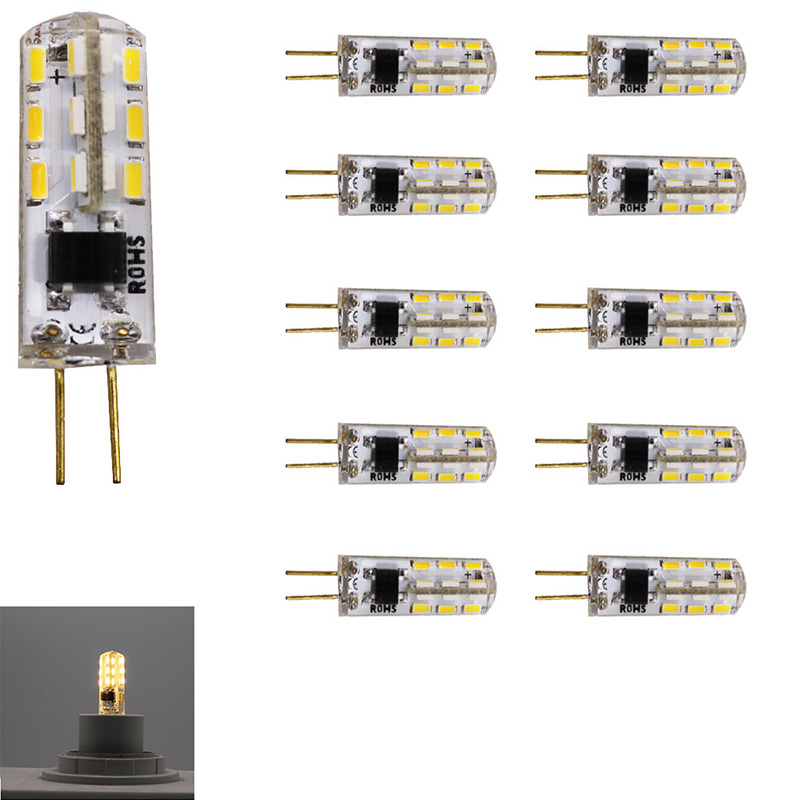 10x G4 led bulb 220v 24 SMD3014 2W Led Lamp 360 Degree Beam Angle silicon LED For chandelier lamparas Light