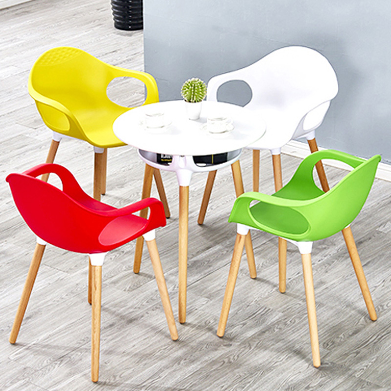 Dining Armchair Modern Style Plastic with Beech Wood Legs Meeting Seat Conference Leisure Chair mid century presidential solid oak wood dining chair armchair upholstery seat dining room furniture modern arm chair for home