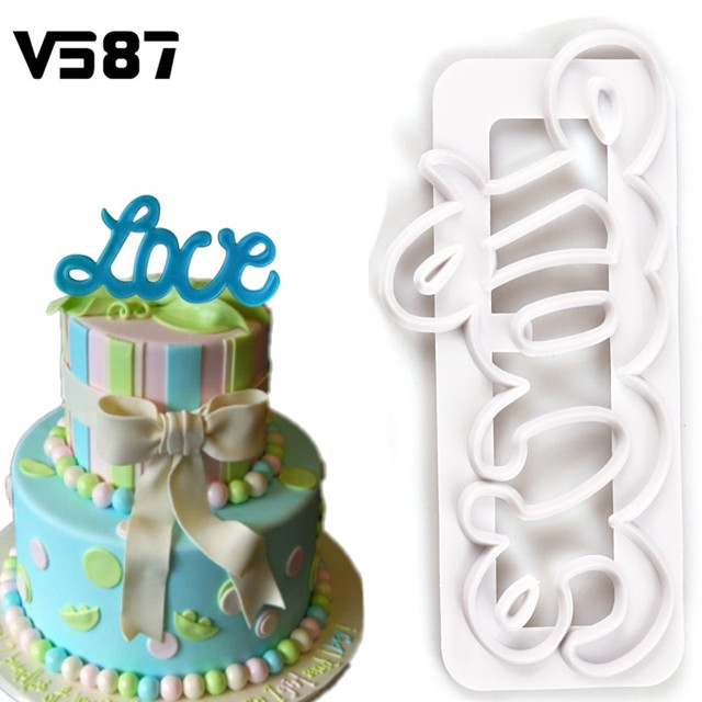 1Pc Love Cookies Cutter Fondant Chocolate Molds Letters Embosser Mould Wedding  Cake DIY Baking Decorating Tools