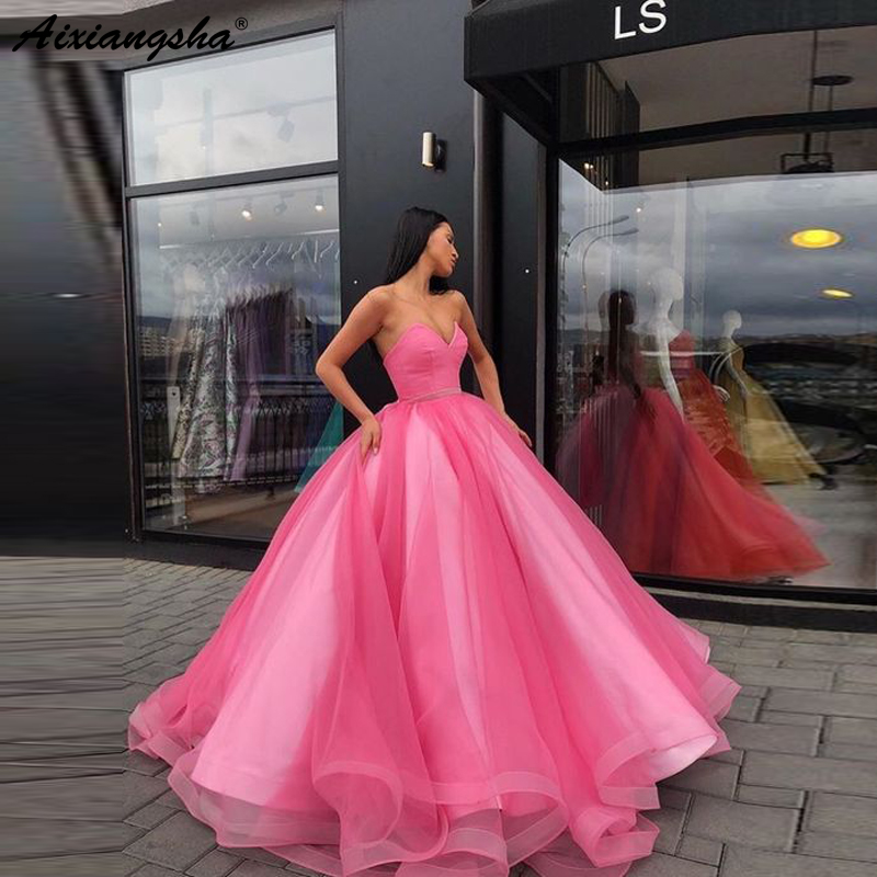 Candy Color Tulle Ball Gown Coral Long   Evening     Dress   Royal Blue Vestido De Festa Off The Shoulder Cheap Formal   Evening   Gown 2019
