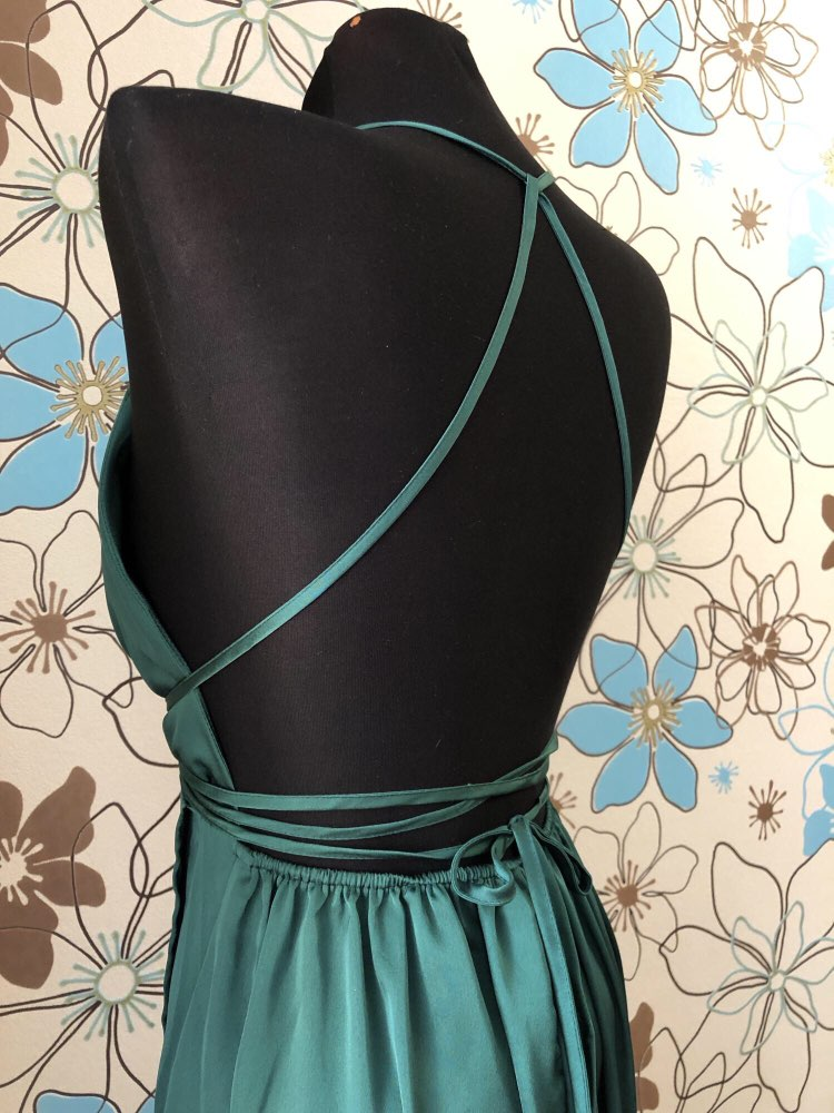 Sexy High Slit Satin Maxi Party Dress Women Plunge Neck Cross Back Green Sleeveless Wrap Cami Summer Dresses photo review