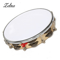 Zebra New Polyester Leather Pandeiro Drum Tambourine Samba Brasil Wood Musical Percussion Instruments Gifts For Music