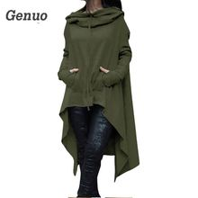 Genuo 2018 Autumn Winter Hoodie Sweatshirt Casual Long Sleeve Women Hoodies Fashion Irregular Hem Hoody Plus Size Pullover