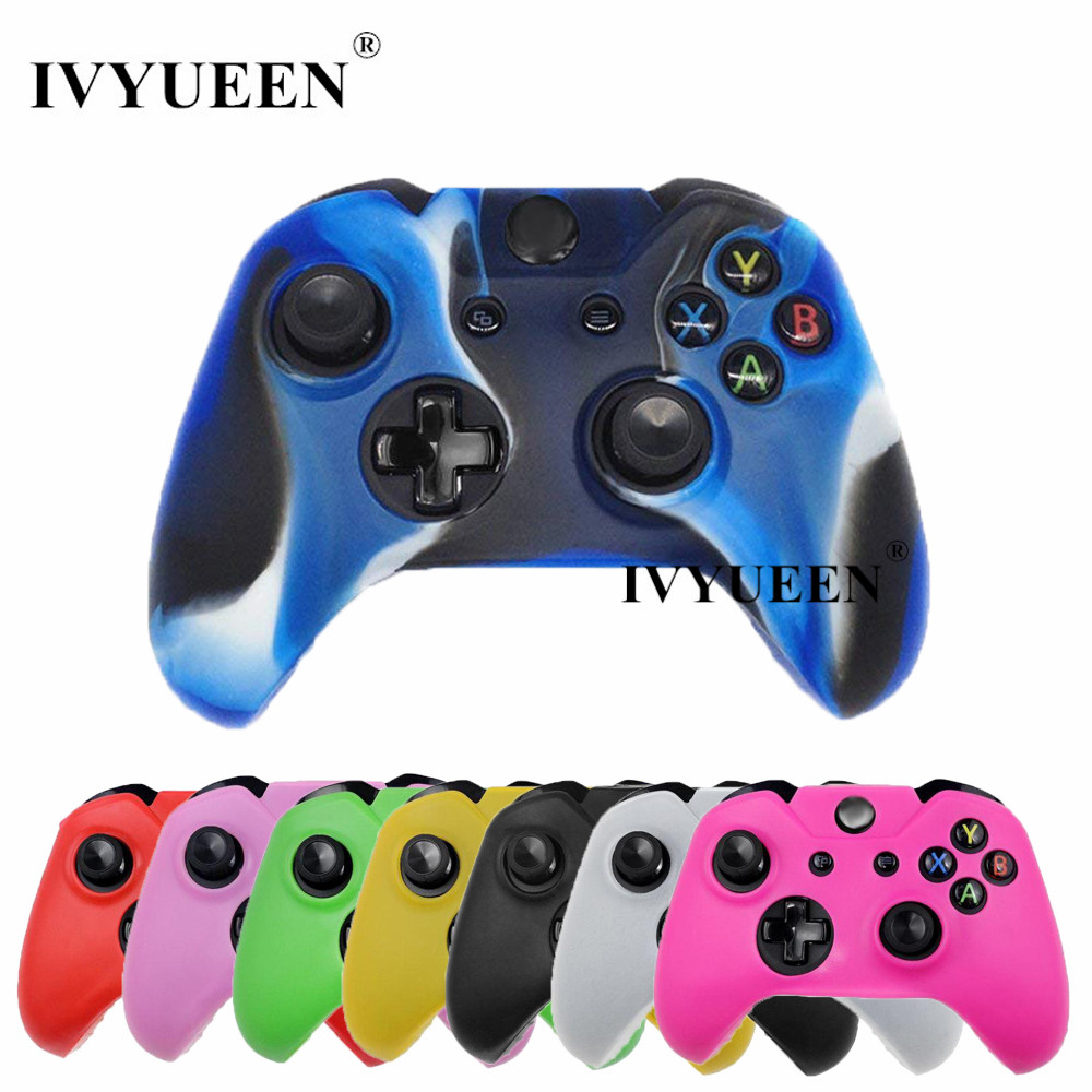 IVYUEEN Soft Silicone Rubber Protective Skin Case Cover For Microsoft Xbox one 1 Controller Gamepad Black Green Blue Red Camo portable protective air foam hard pouch case for xbox one controller lightweight easy carry bag case cover for xbox one gamepad