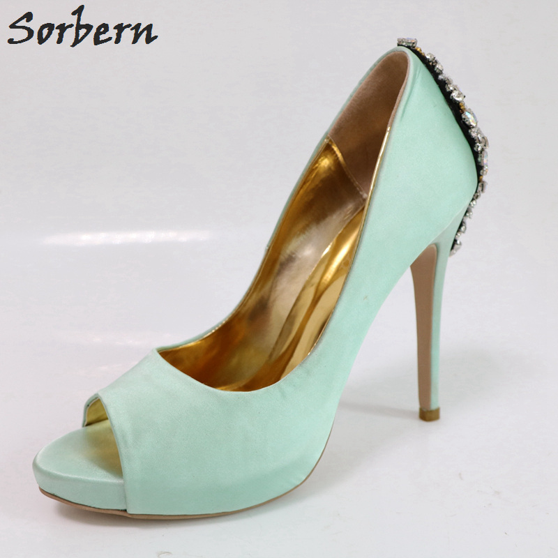 e68eefaff9fd84 Sorbern Mint Green Women Pumps Rhinestones Wedding Shoes High Heels Open  Toe Platform Shoes Slip On Bridal Shoes Diy Colors
