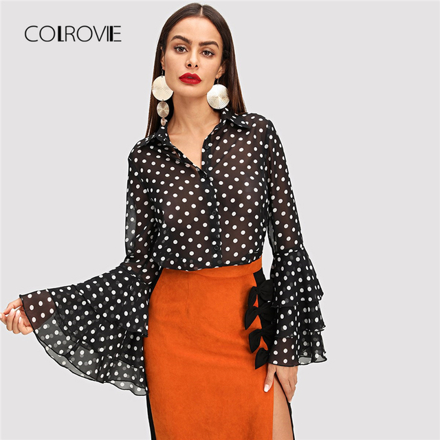 COLROVIE Black Tiered Ruffle Dot Print Elegant Blouse Shirt Women 2018 Long  Sleeve Work Blouse Sexy 5148e3db96fb