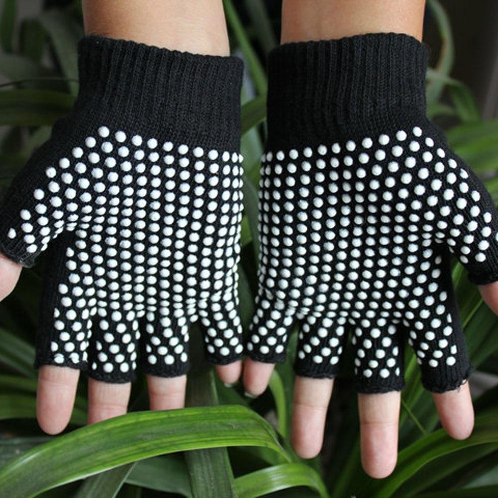 New  Man Women Semi Finger Red Black Gloves Anti Slip Wearable Yoga Mittens Glove