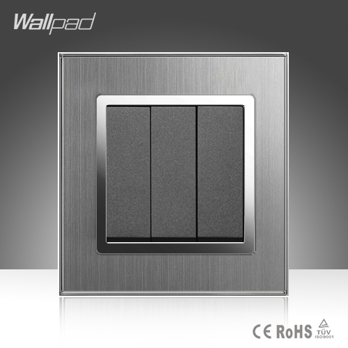3 Gang Reset Wallpad Smart Home EU UK Standard Silver Metal Frame Reset Button Hotel Switch Free Shipping 3 gang 2 way wallpad smart home eu uk standard silver metal frame 3 gang 2 way push button lighting staircase switch 110v 220v