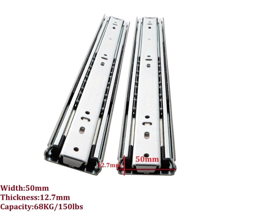 1Pair Lot 10 18 H50mm 68kg 150lbs Heavy Duty Telescopic ball bearing drawer slide Rail Runner