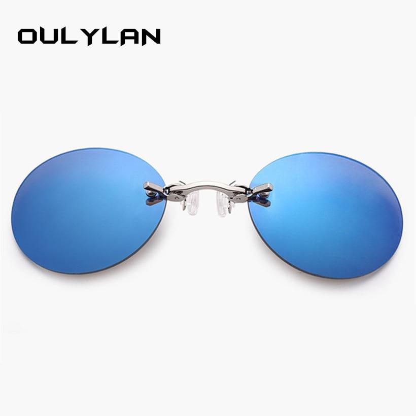 Oulylan Mens Round Rimless Matrix Morpheus Sunglasses Clip On Nose Glasses Frameless Vintage Mini Sunglasses for Men UV400