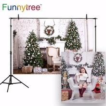 Funnytree backdrop for photo studio brick wall chair Christmas tree gift fireplace children photography background photocall allenjoy christmas backdrop tree gift chandelier fireplace cute professional background backdrop for photo studio