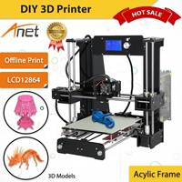 Anet A6 3D Printing Kit 3D Printer Acrylic Frame Offline Print LCD 12864 Screen With 8GB