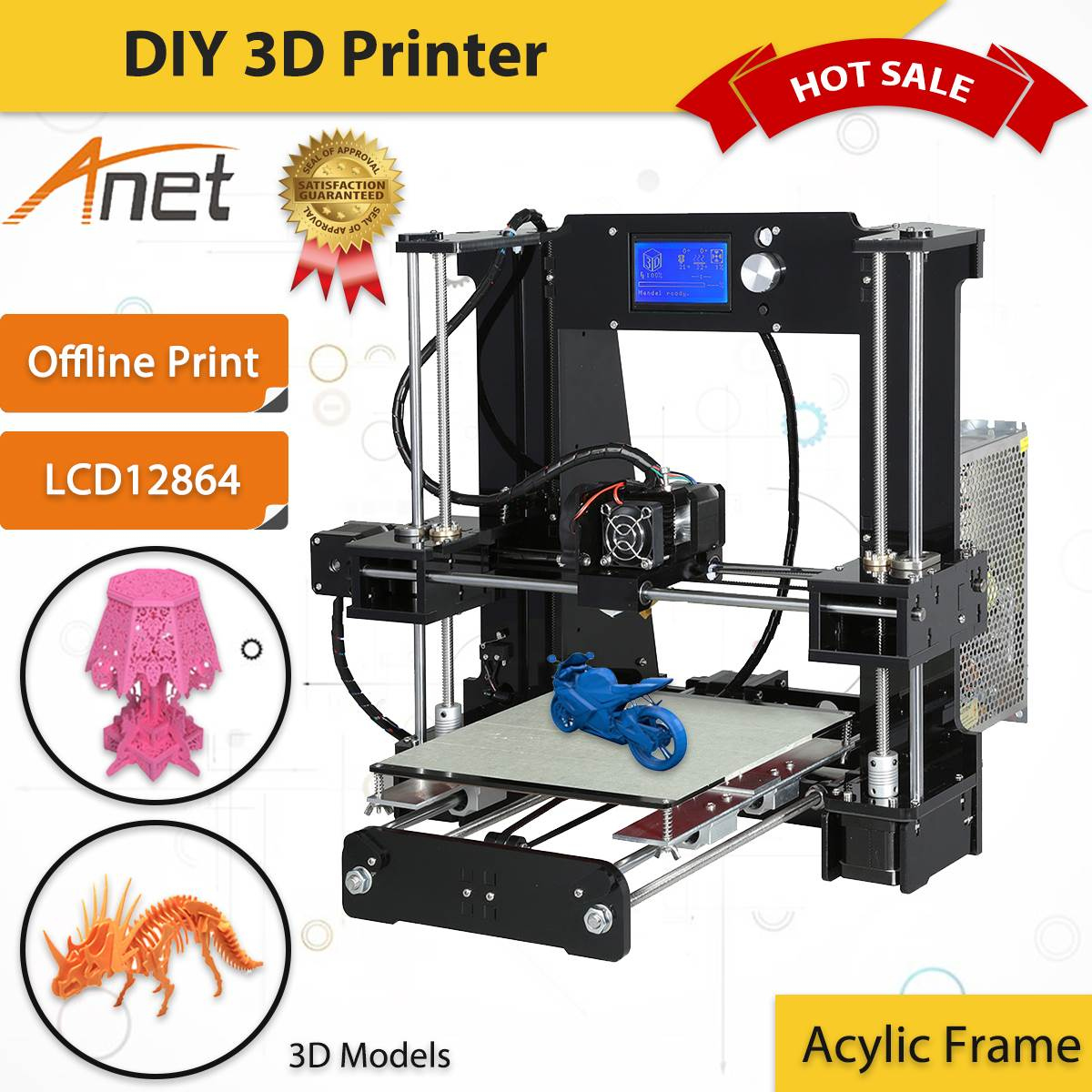 Anet A6 3D Printing Kit 3D Printer Acrylic Frame Offline Print LCD 12864 Screen With 8GB SD Card цена 2017