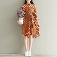 ZANZEA Women Floral Print Polka Dot Buttons Down Long Tops Blusas Vintage Turn Down Casual Loose