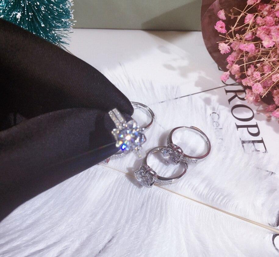 Vente chaude 100% solide 925 argent femmes cadeau bijoux fiançailles anneaux de mariage fleur de Lotus 1.5ct Diamant CZ niveau pierre anneau - 2