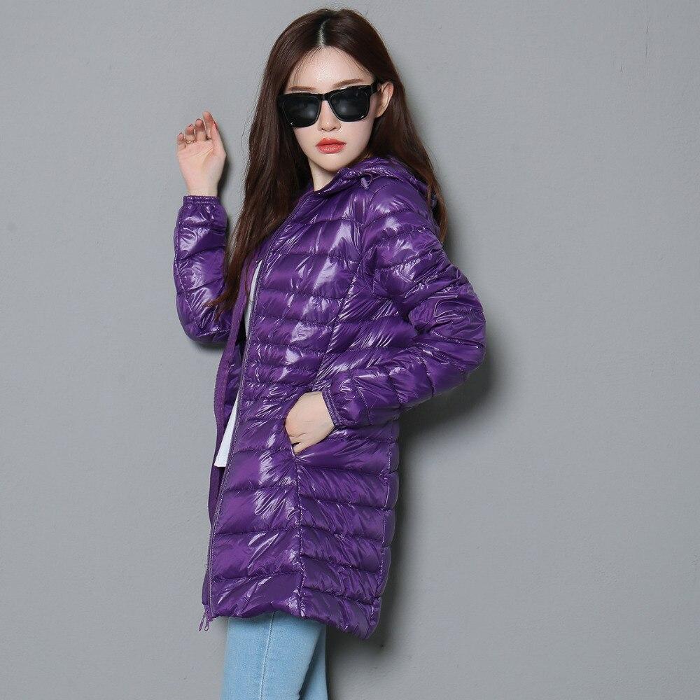Packable Women/'s 90/% White Duck Down Coat Ultralight Jacket Hooded Long Overcoat