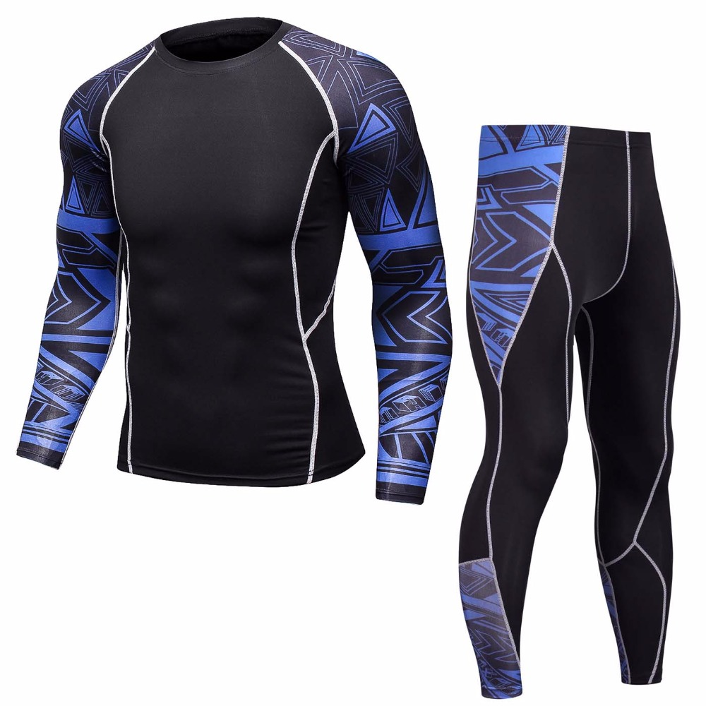 Compression Sportswear Men Set Long T Shirt Men Set NEW 3D Print MMA Crossfit Fitness Muscle Tracksuit Men Tight Track Suit Tops