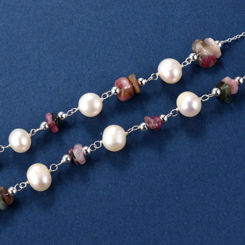 CKKU bijoux collier de perles d'eau douce avec pendentif en pierre verte en forme de goutte et boucles d'oreilles pendantes ensemble de bijoux PD425 - 4