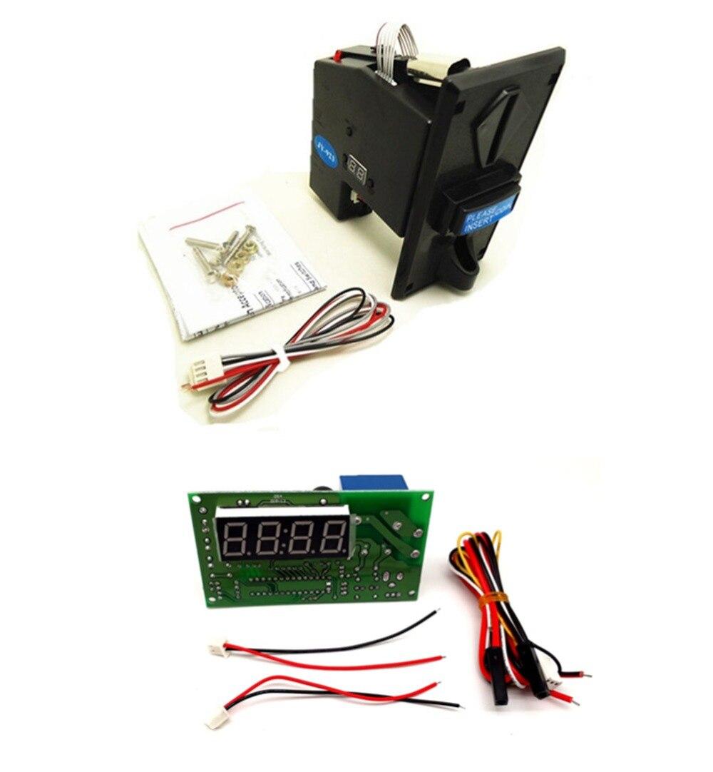 пластиковая передняя панель монетоприемник мульти монетоприемник с JY-15A 4-значный таймер для кафе киоск, стиральная машина
