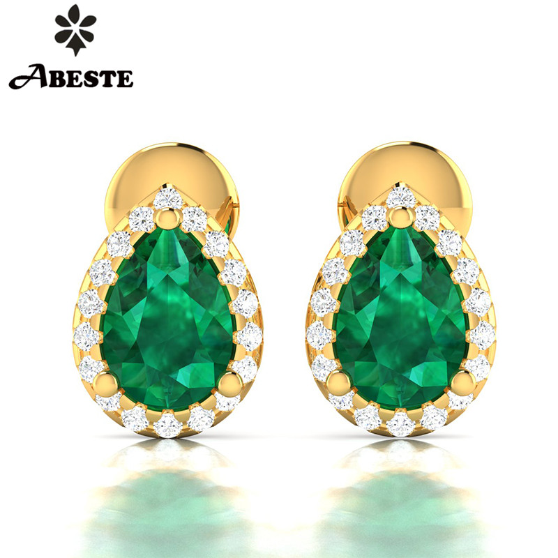 ANI 18K Yellow/White/Rose Gold (AU750) Women Diopside Stud Earrings Halo Natural Diamond Earrings Engagement aretes de mujer цена