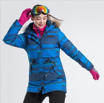 Fur Hooded LANLAKA Women Ski Jacket Snowboard Jacket Windproof Waterproof Super Warm Clothing Mid-Length Outdoor Sport Wear Coat