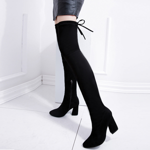 Image 3 - Women Stretch Faux Suede Thigh High Boots Sexy Fashion Over the Knee Boots High Heels Woman Shoes Black N087
