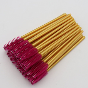 Image 3 - 1000pcs לערבב צבעים ריס מברשת למעלה כמות ניילון חד פעמי מסקרה שרביטים ריסים זהב ידית איפור מברשות ריס הארכת