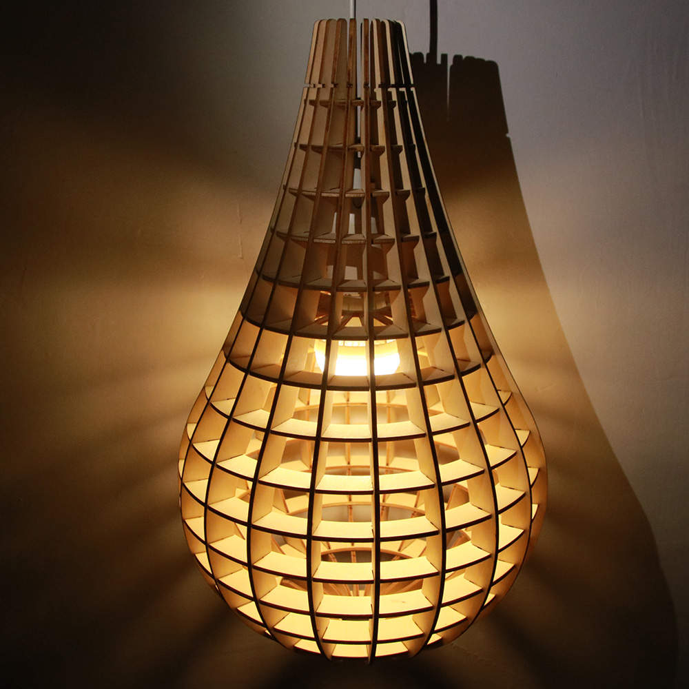 1Piece Novelty Light Bulb Shape Light Creative Cage Chandelier Lamp Clever Light Bulb Light Wooden Bulb Pendant LED Floor Lamp