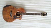 free shipping top quality cutaway koa wood acoustic guitar with customize inlay armrest acoustic electric guitar