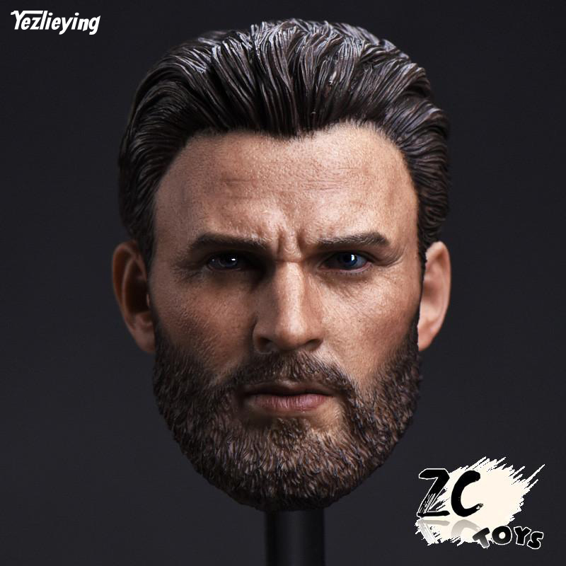 1 6 Scale Male Head Sculpt T Captain America Chris Evans Bearded Model Toys for 12