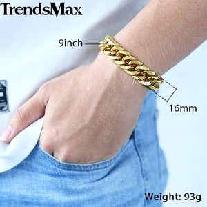 Image 5 - Trendsmax Hip Hop Iced Out Gepflasterte Strass Kubanischen Kette herren Halskette Armband 316L Edelstahl Gold Farbe 16mm KHSM04