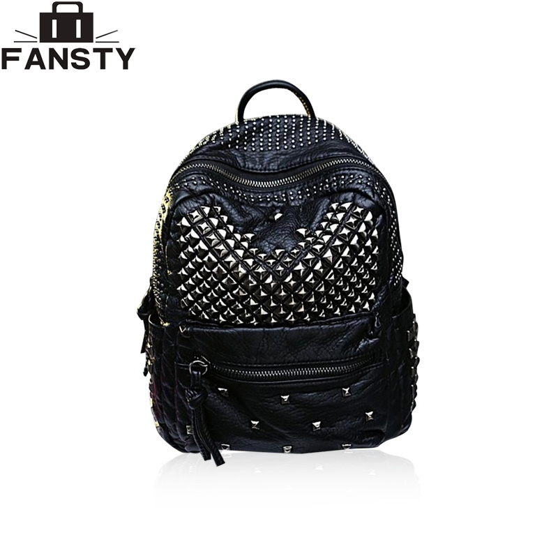 New Fashion Rivets Women Backpack Bag Brand Designer PU Leather College Backpack Black White School Student