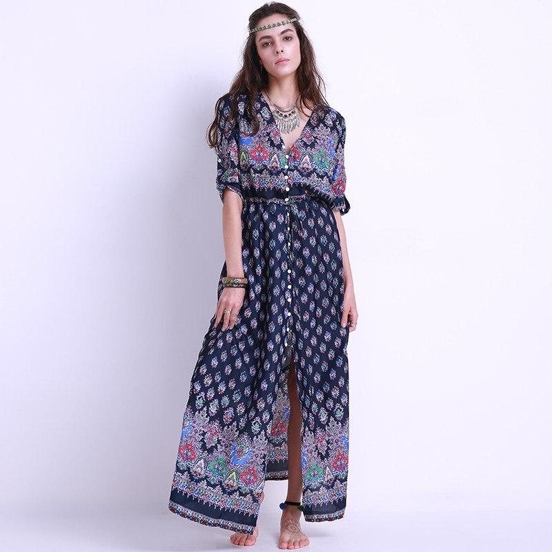 Vintage Ethnic Vacation Beach Wear Women Maxi Dress Short Sleeve Deep V Neck Split Long Dress Sexy Vestidos Plus Size S-5XL