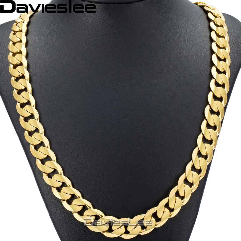все цены на Davieslee Hip Hop Mens Necklace Curb Cuban Chain Gold Filled Jewelry Party Daily Wear 12mm DLGN270 онлайн