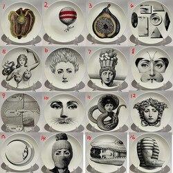 Fornasetti placas arte beleza rosto crânio personalizado los platos para o quarto de arte casa café moda decoração artística prato decorativo