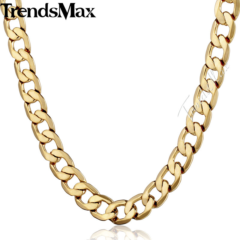 Trendsmax Gold Filled Necklace for Men Mens Chain Cuban Link Gift Party Jewelry GNM48