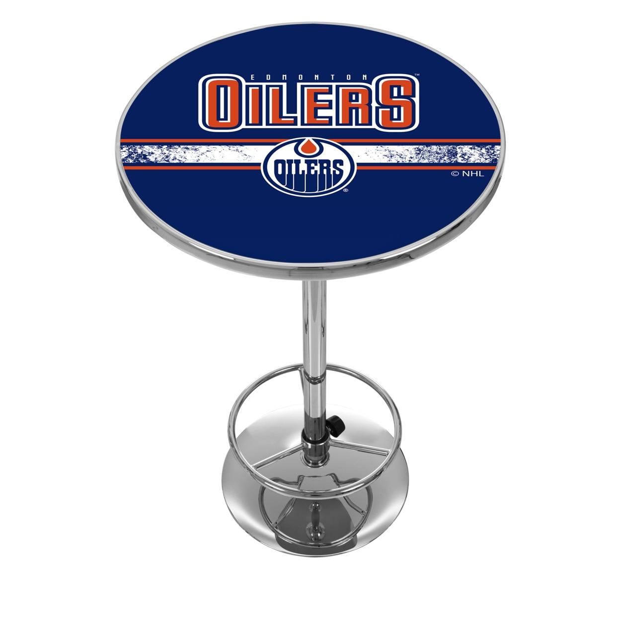 NHL Chrome 42 Inch Pub Table - Edmonton Oilers hunter mfg 3 4 inch edmonton oilers adjustable harness medium