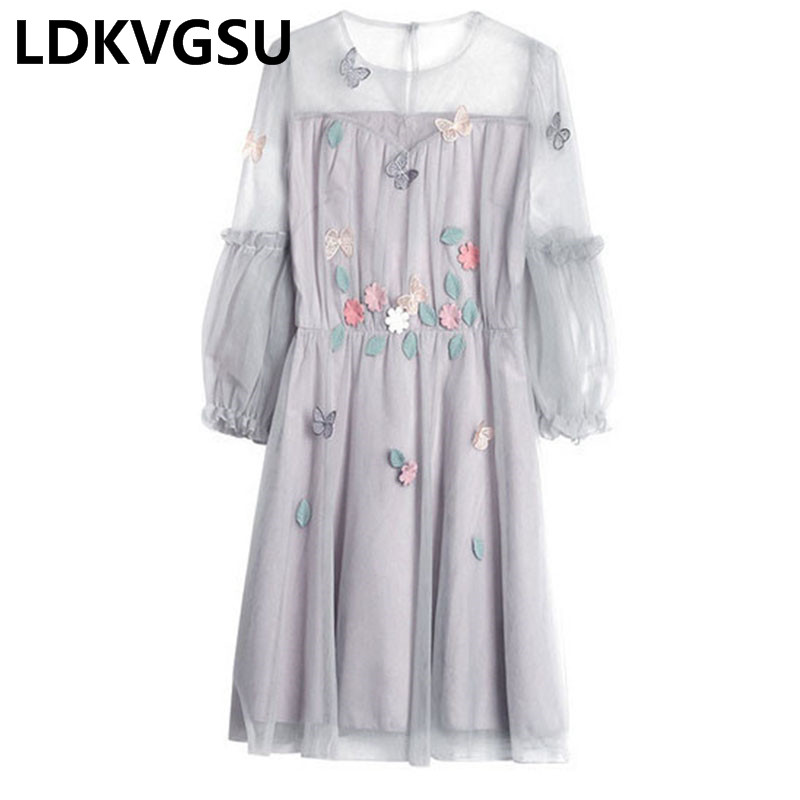 Large Size Women Fake Two Half Sleeve Dresses 2018 Spring Summer New Net Yarn Puff Sleeve Flower Collage Dress Femme M-4XL Is231