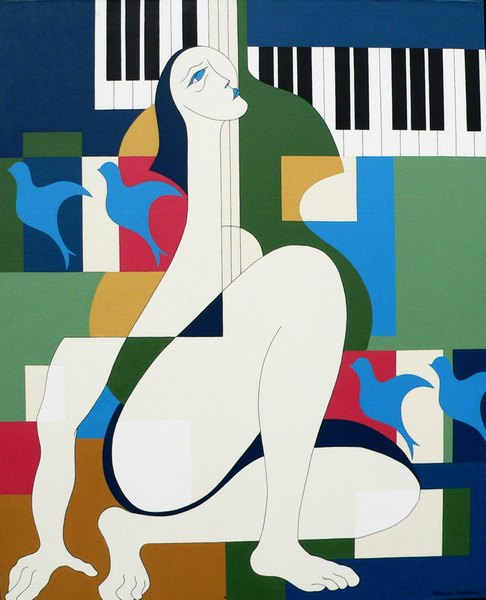 High quality Oil painting Canvas Reproductions Music and Woman by Hildegarde Handsaeme hand painted