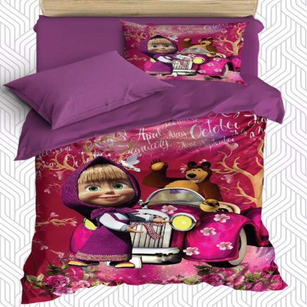 Sinon 4 pièces violet rose petite fille ours voiture fille impression 3D coton Satin unique housse de couette literie ensemble taie d'oreiller drap de lit
