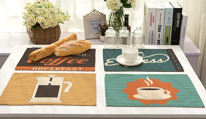 Простой мультяшном стиле столовых Хлопок и лен кофе шаблон искусство съесть мат Бытовая журнальный столик украшения